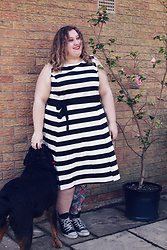 Kitty Wood - Everything5pounds Black And White Striped Dress, Converse Black Hi Tops - Monochrome