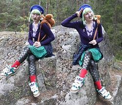 Lindwormmm - Blue Beret, Thrifted Squirrel Backpack, Purple Cardigan, United Colors Of Benetton Lilac Shirt, Black Milk Clothing Dragon Scale Skirt, Black Milk Clothing Silver Mermaid Scale Leggings, Red Little My Socks, Jeremy Scott Adidas Sneakers, Golden Horse Brooch - Squirrel Friends