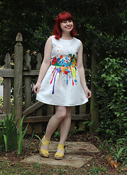 Jamie Rose - Shein Rainbow Paint Splatter Dress, Target Yellow Wedges - Rainbow Paint Splatter