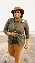 Beoncia Dunn - Old Navy Cords, Topman Sheer Tee, Purple Fancy Boutique Floral Lapel Pin - K H A K i