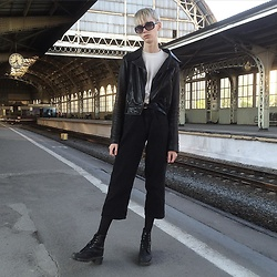Egor Svetsky - Monki Jeans, Dr. Martens Vintage Boots, Monki Top, Oasis Leather Coat - 90's vibes
