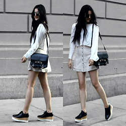 Florencia R - Brandy Melville Usa Bell Sleeve Top, Abercrombie & Fitch Suede Button Up Skirt, Proenza Schouler Ps11 Bag, Nasty Gal Circle Sunglasses, Stella Mccartney Platform Shoes - Walking on a dream