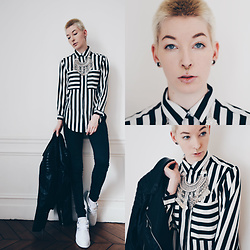 BEHINDHERMASK - Romwe Striped Blouse, H&M Leather Jacket, Happiness Boutique Necklace Silver - Black & white striped blouse