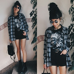 Vanessa Rossi - Forever 21 Sunglasses, Aliexpress Tshirt, Lee Shorts, Asos Shirt, Dr. Martens Boots - In My Usual Uniform