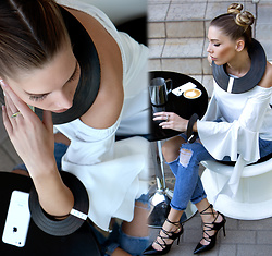 Dora D. - White Off Shoulder Blouse, Skinny Ripped Jeans, Black Lace Up Heels, Designer Creations Necklace, Bracelet And Ring - Be amazing today, but first caffe !
