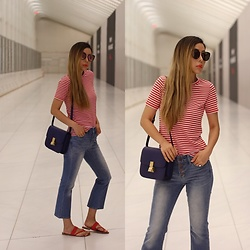 Sasa Zoe - Only $20 Tee, Less Than $100 Jeans, Sunglasses, Sandals, Bag - RED STRIPE CASUAL GLAM