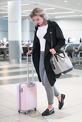 Rowan Reiding - Only Dress Pant Joggers, Mango Black Trench Coat, Alexander Wang Emile Tote Bag Designer Bag, H&M White Rib Top - AT THE AIRPORT WITH MY SUITSUIT CARETTA PINK LADY