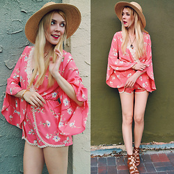 Zuzana - Hatattack Hat, The Mint Joulep Boutique Peach Romper, Dolce Vita Lace Up Wedges - Romp Around!
