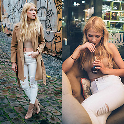 Zuzana - Romwe White Ripped Jeans, Forever 21 High Neck Crop Top, Dolce Vita Fringe Booties, Romwe Camel Coat - Stay Neutral!