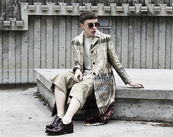 "Paul Conrad Schneider - Valentino Coat, Oak And Fort Button Up, Custom Made Cropped Flares, Prada Oxfords, Nordstrom Sunglasses - ""Stay Golden."""