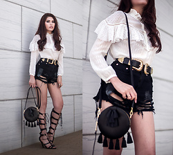 Careese Quon - Rebecca Minkoff Crossbody Bag, B Low The Belt, Rebecca Taylor Ruffle Blouse, Charlotte Russe Shorts - Victorian Vibes