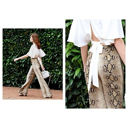 FASHION MOODS - Missyempire Bethany White Bat Wing Top, Zara Python Snakeskin Pants, Zara Mini White Bag - SECOND SKIN