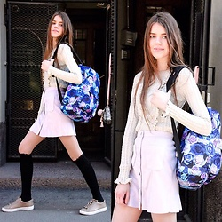 Adelina - Gina Tricot Skirt, Zara Blouse, Michael Kors Sneakers - Road with a backpack