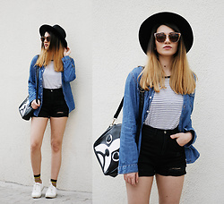 Melike Gül - Zerouv Sunglasses, H&M T Shirt, Stradivarius Denim Shirt, Romwe Shorts, Morethights Socks - Lines and Dots