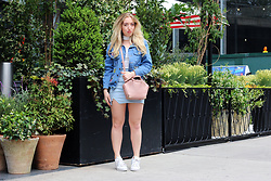 Lilia - Alexander Wang Mini Emile Bag, Adidas Superstar White Sneakers, Missguided Baby Blue Leather Skirt, Misspap Patched Denim Jacket, Quiz Choker Top - Urban Jungle
