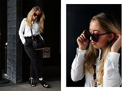 Lilia - Gentle Monster Black Sheep Sunglasses, Zara Denim Shirt, Missguided Cigarette Pants, Alexander Wang Mini Rockie, Alexander Wang Nadia Sandal - W A N G E D