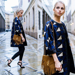 Caro Daur - Saint Laurent Bag, Topshop Shoes - Black blue and brown