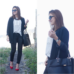 Carolina González Toledo - Suiteblanco Bag, Zara Sun Glasses, Zara Blazer, Primark T Shirt, Bershka Jeans, Primark Heels - Sleep all day, party all night