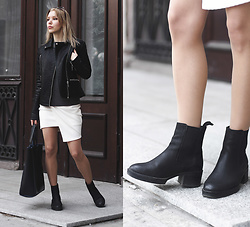 Margo Bryksina - Fme Top, Asos Dress, Front Row Shop Shopper Bag, Asos Chelsea Boots - Atlases