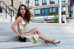 Beauty Mark Lady - Aquazzura Heels, Alice + Olivia Dress - Golden Lady :)
