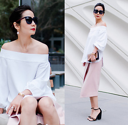 Helen @ mountainandcloud.com - Tibi Off Shoulder Top, Nicholas Pointi Wrap Front Pencil Skirt - The Elegant White