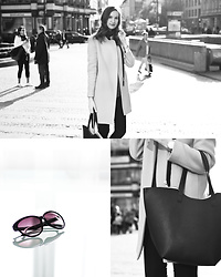 Lorietta.cz - Zara Elegant Minimal Coat, H&M Classic Sunglasses, H&M Black Bag - Cat-Eye Sunglasses