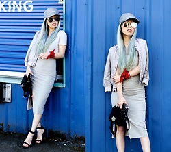 Aika Y - Nike Grey Baseball Cap, Forever 21 Cropped Top, H&M Bomber Jacket, Urban Outfitters Red Bandana, Zara Ribbed Skirt With Vent, Asos Strap Heel Sandals, No Weekends Mirrored Sunnies - When Grey Meets Blue...