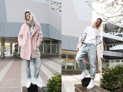 Candy Rosie - Boohoo Coat, Levis Tee, Monki Jeans, Adidas Sneakers - CANDY ROSIE