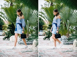 Maristella Gonzalez - Zara Off The Shoulder Gingham Blouse, Zara Patchwork Denim Skirt, Saint Laurent Sac De Jour Bag, Zara Reebok Style Sneakers, Uterque Tassel Earrings - Gingham & Patchwork