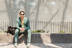 Maik - Dolce & Gabbana Sunglasses, Topman Suit, Scotch & Soda Shirt, Adidas Shoes - Business look with flowers