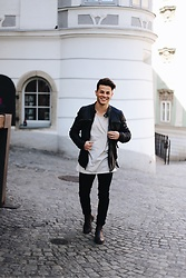 Kevin Elezaj - Selected Homme Boots, Tigha Jeans, Tigha T Shirt, Tigha Jacket - Dapper