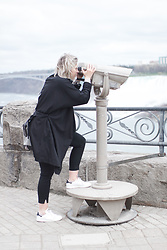 Rowan Reiding - H&M Black Slacks Pants, Mango Black Oversized Trench Coat, Adidas White Stan Smith Sneakers, Alexander Wang Emile Tote Bag - THE NIAGARA FALLS