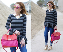 Vale ♥ - Rose A Pois Striped Top, Happiness Boutique Statement Necklace - Stripes & Ruffles