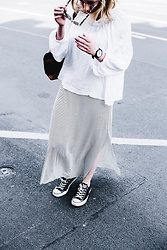 Viviane Lenders - H&M White Off Shoulder Blouse, Mango Striped Maxi Dress, Converse Black, Urban Outfitters Speckled Eyewear - Bare Minimum
