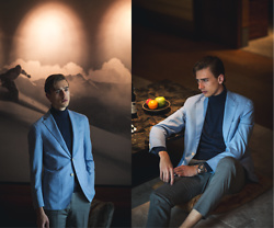 Oliver Lips - Caruso Blazer, Oscar Jacobson Roll Neck Sweater - 24 hours at The Chedi Andermatt
