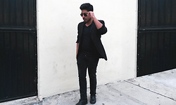 Pepe Vela - Call It Spring Boots, Gap Jeans, Zara Shirt, Zara Blazer, Ray Ban Shades - ALL BLACK