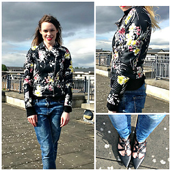Edel H - River Island Floral Leather Jacket, Bershka Jeans, Topshop Lace Up Ghillie Shoes - Rooftop Vibes