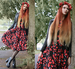 Liza LaBoheme - Rose Dress, H&M Faux Leather Jacket - Strawberries, cherries and an angel's kiss in spring