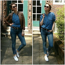 Illona.Verdi - Cubus Leather Jacket, H&M Jeans, Converse Sneakers, Mango Top, Vera Wang Sunwear - Brown blue bubbuloooo