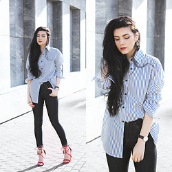 CLAUDIA Holynights - Sheinside Blue Stripes Shirt, Asos Jeans, Lulu*S Shoes - Boyfriend shirt and red shoes