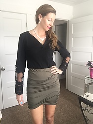 Cindy Batchelor - Choies Black Casual Lace Sleeved T Shirt, Zeagoo Wrapped Mini Skirt In Olive Green - Lace T Shirt and Bandage Mini Skirt In Olive Green