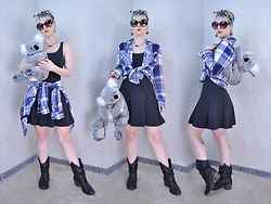 Suzi West - Sourpuss Clothing Scarf, Forever 21 Sunglasses, Rocket Studio Art Abstract Earrings, Shantel Niblock Bat Necklace, Natural Reflections Plaid Shirt, Divided Skater Dress, Aurora World Inc. Koala Backpack, Mossimo Cowboy Boot - 03 May 2016
