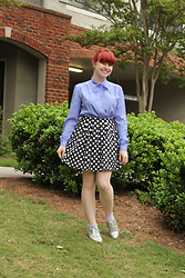 Jamie Rose - Purple Bow Neck Blouse, Forever 21 Navy Polka Dot Skirt, Sam & Libby Silver Oxfords - Dots and a Purple Bow Blouse