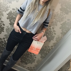 Jenny Violetta - Nordstroms Crop Top, American Apparel High Waisted Jeans, Ivanka Trump High Thigh Boots - Blushington event