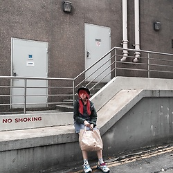 Nicole - Raf Simons Sneakers, Comme Des Garçons Tote, Stussy Bucket Hat, Thrifted Flannel, Thrifted Pinafore, Topshop Tattoo Choker - 02