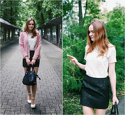 Marina Senina - New Yorker Pink Jacket, Https://Vk.Com/Club48977128 Lace T Shirt, Marysenina Black Flowers Skirt, Black Bag, Https://Vk.Com/Club48977128 White Shoes - Office style in the park