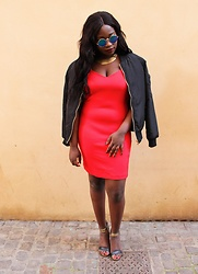 Olivia D. - Missguided Black Sandals, Mango Red Little Dress, New Look Bomber Jacket - The Red and the Black