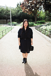 Sophie Veu - Forever 21 Navy Blue Blouse Dress, The Kooples Black Hat, Acne Studios Black Boots - As simple as it gets