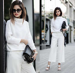 Adriana Gastélum - Shein Sweater, Mango Trousers, Proenza Schouler Ps11 Classic, Proenza Schouler Sandals, Italia Independent Sunnies, More Outfits On - White outfit