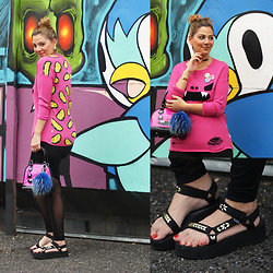Jaclynn Brennan - So Happy Taco Sweater, Teva Flatform Sandals, So Happy Monster Bag - SO SO HAPPY